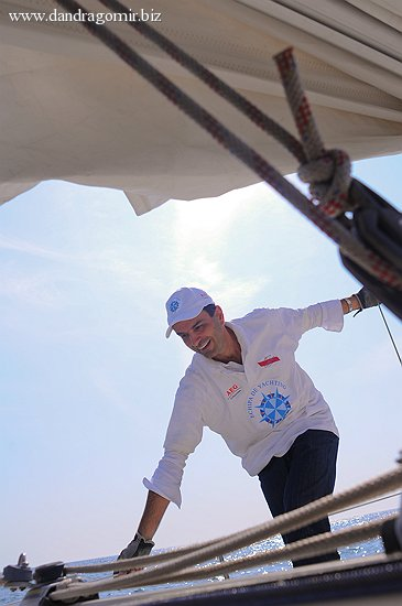 Lucian Mândruță - pe barcă
