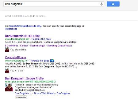 profile Google+ in search