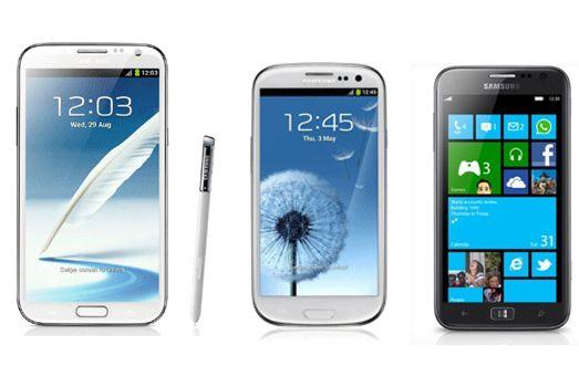 Note 2 Galaxy S3 Ativ S