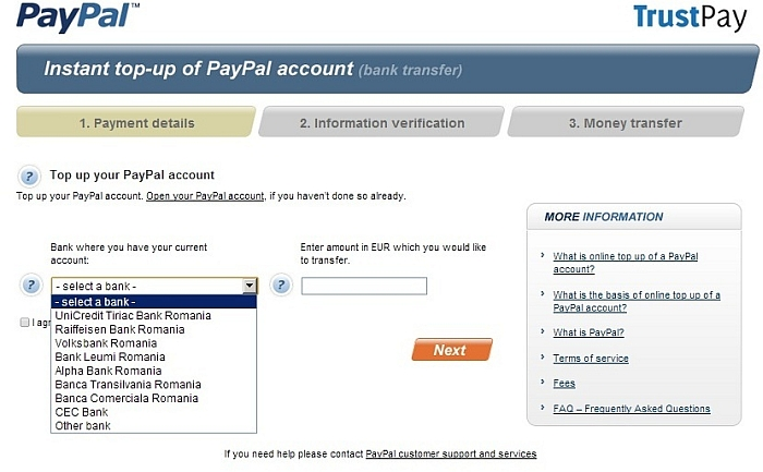 PayPal Top-Up screenshot