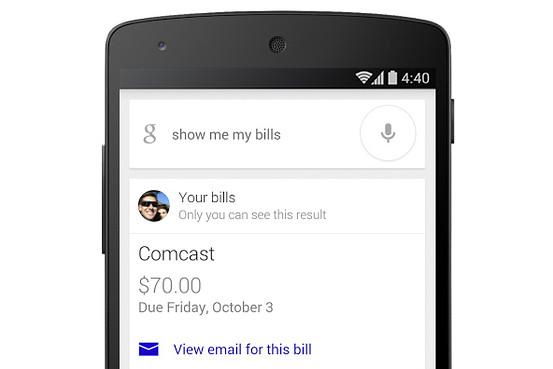 Google Now arată o alertă legată de o factură din Gmail