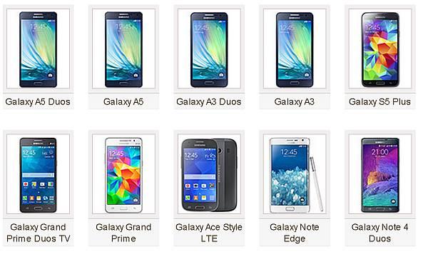 Modele Samsung Galaxy