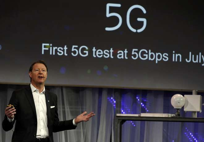 Ericsson's Chief Executive Vestberg speaks during a presentation event at the Mobile World Congress in Barcelona