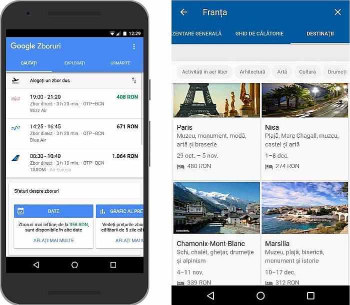 Google Flights și Destinations Romania