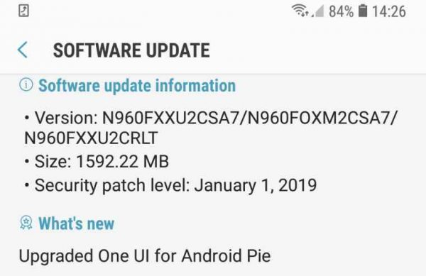 samsung update android 9 pie note 9