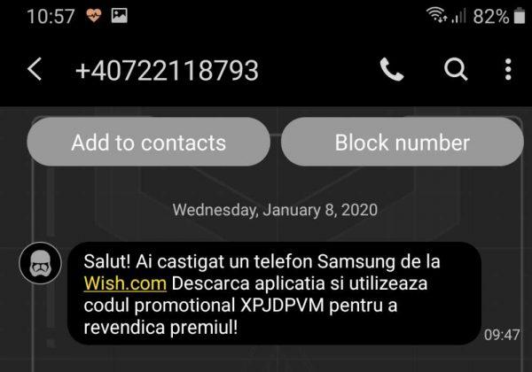 teapa Wish.com Ai castigat un telefon Samsung