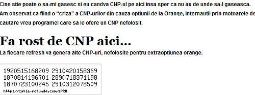 generator CNP - uri